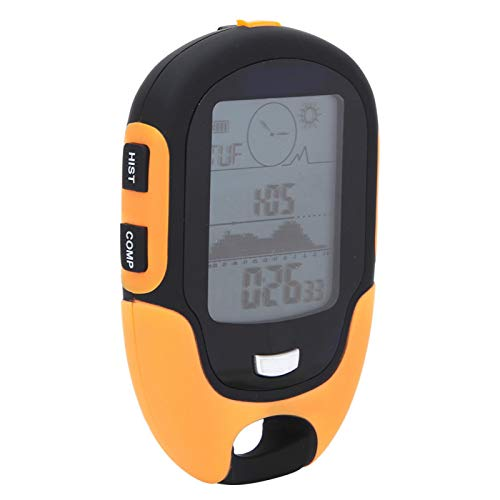 SALUTUYA LCD Digital Thermometer Tragbar Robust Leichtgewichtiger GPS-Navigationsrezeptor Höhenmesser Barometer Wiederaufladbar Langlebig für Camping, Wandern, Angeln, Jagen(Yellow)