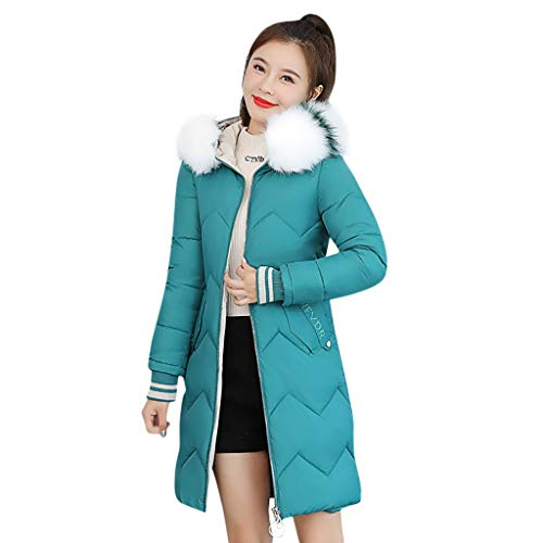 Fenverk Damen Winter Mantel Steppmantel Paula warme Damen Jacke Parka lang Mantel Winterjacke Fell Kragen Softshell Jacke Cotton Windbreaker(A Grün,M)
