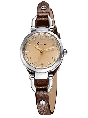 Alienwork Damen-Armbanduhr Quarz Silber mit Lederarmband braun Retro elegant klein