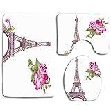 Not Applicable Arquitectura Verde Paris Tour Memory Torre Eiffel Architect Pink Beautiful Bloom Blooming Blossom 3Pcs Set de baño Alfombra contorneada + Tapa de Inodoro + tapetes de baño