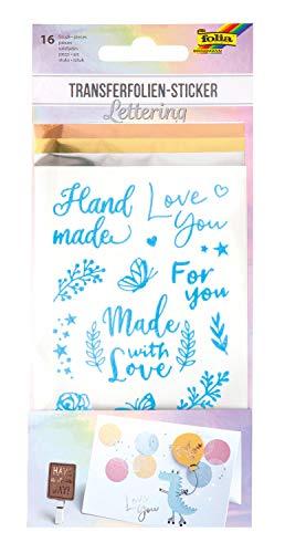 Folia 17204 Lettering, 16 dubbelzijdig klevende stickers inclusief 3 transferfolies, voor het versieren van wenskaarten, voor scrapbooking en handlettering, kleurrijk, één maat