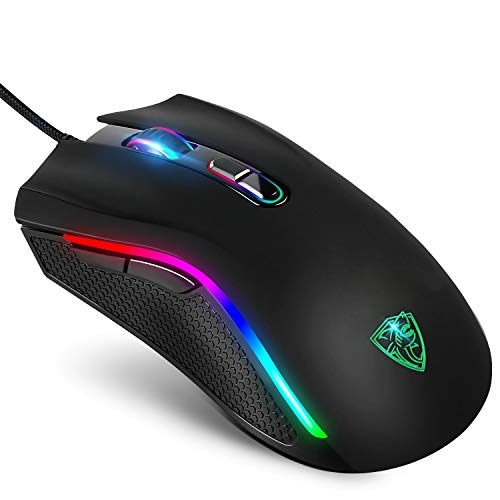 GTRACING ゲーミングマウス マウス 有線 光学式 ゲーム用マウス rgb 軽量 6段階DPI切り替え 7色 手首の痛みを予防 人間工学デザイン 手触り拔群 GT879