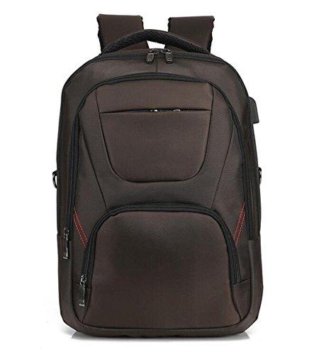ZHANGOR USB reseryggsäck, Oxford andningsbar ryggsäck datorväska axelväska, skola/arbete (damer/män), brun
