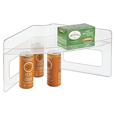 mDesign Home Kitchen Lazy Susan Storage Shelf with Handle for Kitchen Cabinets, Pantry - Clear