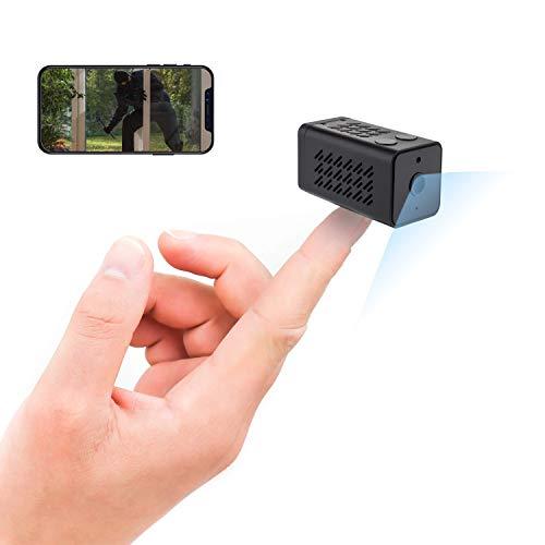 OniTech - Mini cámara espía - Grabador de visión Nocturna y Full HD 1080p Conexión WiFi inalámbrica (Android / iOS) - Sensor de Movimiento - Cámara en Miniatura para Interior / Exterior