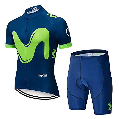 Hombres Maillots de Bicicleta Conjunto de Ropa de Ciclo Jersey de Manga Corta + Pantalones Cortos Cómodo Respirable Secado rápido