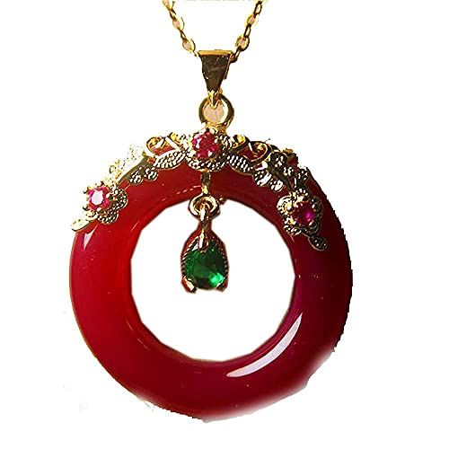LOOPIG Fashion Jewelry Chalcedony Inlaid 925 Silver Donuts Necklace for Woman Feature