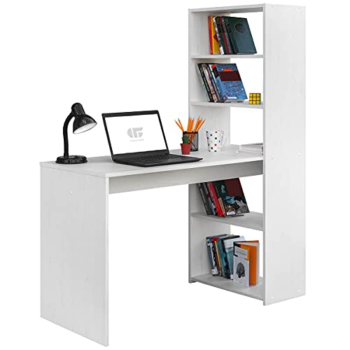 COMIFORT Escritorio con Estantería - Mesa de Estudio con Librería de Estructura Firme, Moderna y Minimalista con 4 Baldas Espaciosas y de Gran Capacidad, Color Nordic