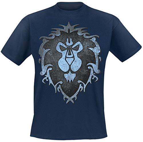 Warcraft Camiseta de World of Hombre Logo de algodón Azul de la Alianza