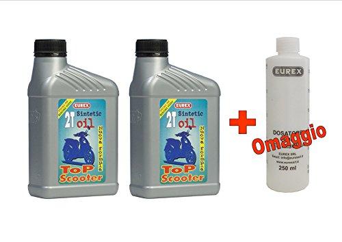 N. 2 CONFEZIONI OLIO MOTO 2 TEMPI EUREX 2T SINTETIC LT 1 (Lubrificante semisintetico) + MISURINO DOSATORE CON TAPPO