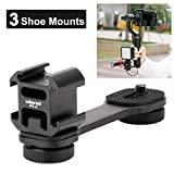 Ulanzi PT-3 Triple Cold Shoe Gimbal Microphone Mount Extenstion Bar, w 1/4 inch Adapter Video Light Microphone Mount Compatible for DJI OM 4/OSMO Mobile3/Zhiyun Smooth q 4/Feiyu Gimbal Stabilizer