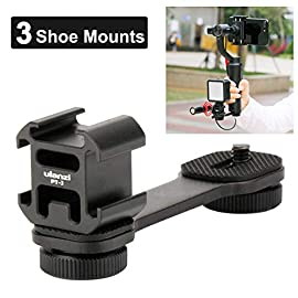 Ulanzi PT-3 Triple Cold Shoe Gimbal Microphone Mount Extenstion Bar, w 1/4 inch Adapter Video Light Microphone Mount… 1 Perfect for Smartphone Gimbals Vlogging or Videography --- with 3 cold shoe mounts extension, and 1/4'' screw, you can mount led video light and microphone on your gimbals like DJI OM 4 OSMO Mobile 4 Zhiyun Smooth 4 Q X Hohem iSteady 3 Mobile Plus X Feiyu Vimble etc. Three cold shoe mounts enables many accessories combinations,such as LED light, microphone,doing what traditional single hot shoe can't do! To hold your accessories, the bracket is solidly built with a security lock to avoid easy falling-off, minimizing potential damage.