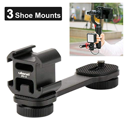 Sutefoto PT-3 Triple Cold Shoe Mounts Plate, Mikrofon Led-Videolicht-Erweiterungsstand Kompatibel für DJI OSMO Mobile 2 / Zhiyun Smooth 4 / Feiyu Vimble 2 Gimbal Stabilizer