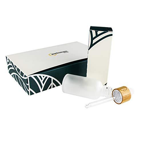 Wachsmann | Hochwertige Glastiegel & Pipetten-Flaschen mit Bambusdeckel | Für nachhaltige DIY-Naturkosmetik | Mit Geschenkverpackung | Reise Behälter für Salben & Lotionen (Pipette graviert | 5 Stück)