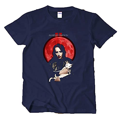 Camiseta de manga corta para hombre Marilyn Manson Music Rock Tee mujeres Hiphop Graphic Funny Shirts