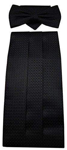 ohne Markenname G2 Kummerbund Einstecktuch Fliege schwarz 100% Seide gemustert Gr. 85 bis 110 cm