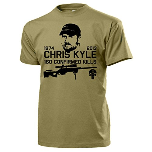 Chris Kyle American Sniper Caza Navy Seal Team 3US Irak Guerra Seals Texas Held 160Kills Estados Unidos Army cráneo Logo–Camiseta # 15937 arena Medium