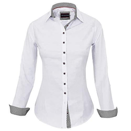 HEVENTON Damen Bluse Hemdbluse Slim-Fit 100% Baumwolle Langarm elegant und hochwertig Business 1214 Farbe Weiß, Größe 44