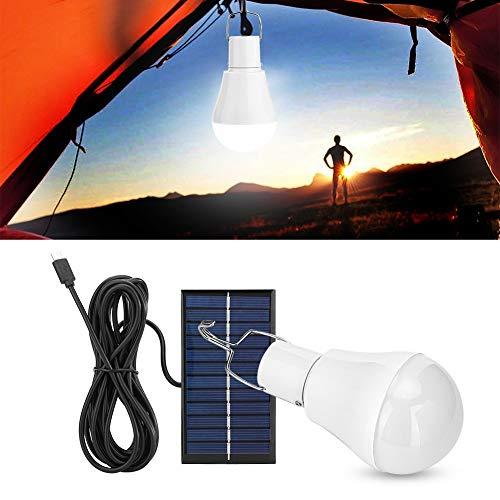Bombilla de luz Solar, lámpara portátil Solar de 7W, 16 LED de iluminación Inteligente de Emergencia con Panel Solar, Bombillas de inducción 5600K para Pescar Carpas al Aire Libre