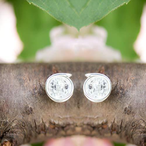 Süße Edelstein-Ohrstecker aus geblitztem Bergkristall und Silber X garantiert echte Edelsteine und hochwertige stabile Handarbeit