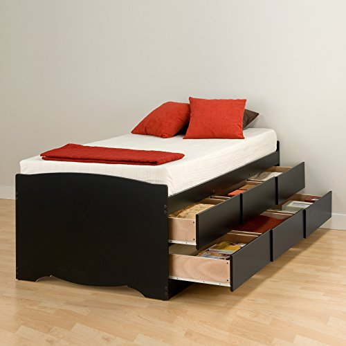 Prepac Captain's Platform Storage Bed with 6 Drawers, Twin, Black
