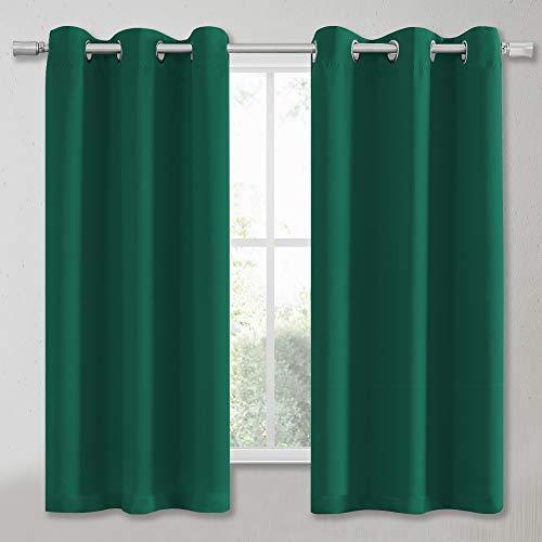 KEQIAOSUOCAI Grüner Vorhang 137 cm Länge – wärmeisoliert, solide Ösen, Sonnenschutz, Jägergrün, Gardinen für Küche, Café, 2 Stück, dunkelgrün, B 34 x L 54