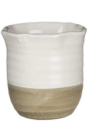 Sullivans 11,4cm Deko Krakelee Keramik Topf/Vase in weiß und beige