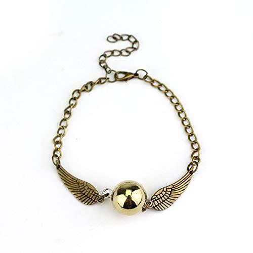 Wagrass Pulsera Krasivaya estilo retro alas de ángel encanto dorado informante marcapáginas pulsera para joyas de película, mujeres y hombres joyería (Metal Color: Oro)