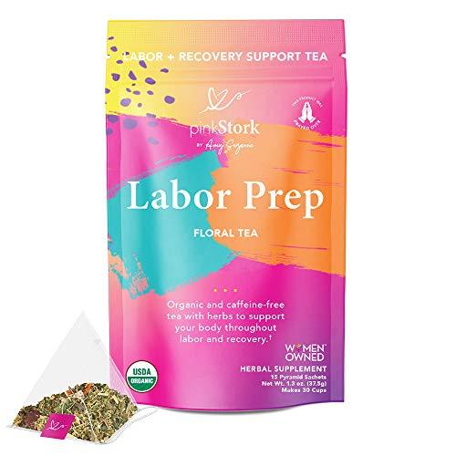 Pink Stork Labor Prep Tea: Floral, Red Raspberry Leaf Tea, 100% Organic, Pregnancy Must Haves, Labor and Delivery + Postpartum Essentials, Hormone Balance for Women, Women-Owned, 30 Cups, Unsweetened