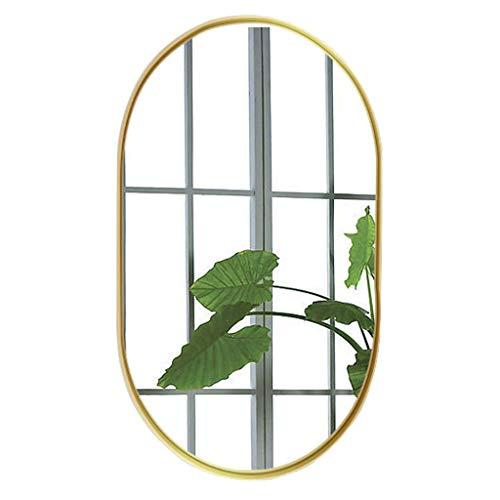 NMDCDH 20.5'& Times; 32.6' Espejo de tocador de Pared para baño Espejo de Maquillaje Ovalado Espejo de Pared de Metal Cepillado contemporáneo |Panel de Vidrio con Marco Dorado