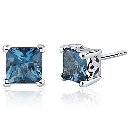 London Blue Topaz Princess Stud Earrings Sterling Silver 2.50 Carats