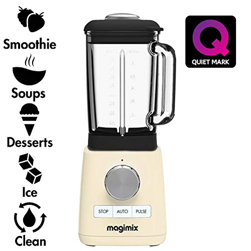 Magimix 11627 Power Blender with Quiet Mark Approval, Metal/Glass, 1.3 W, 1.8 liters, Cream