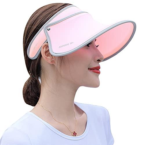 Sidiou Group UPF 50+ Cappello da Sole Anti UV Cappello Estivo Sole Visiera Estiva Donna Cappuccio di Protezione Parasole Vuoto Spiaggia Viaggi Escursionismo Cappello a Tesa Larga (1644 Rosa)