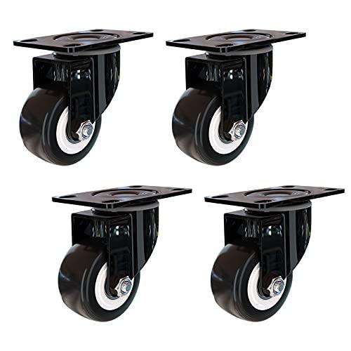 LLDSB026 4 x 50 mm para Ruedas giratorias de Muebles, Las Ruedas del Carro Pueden Girar 360 ° bajo una Carga de 140 kg, Ruedas de Goma de Poliuretano de 2 Pulgadas(Size:50mm/2in)