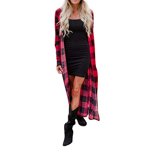 Vectry Damenmode Lange Oberteile Strickjacke mit Schottenmuster und V Ausschnitt Lange Ärmel Hemden Beiläufiger Pullover Pullover Locker sitzender Mantel Bluse Jacke Rot XXL