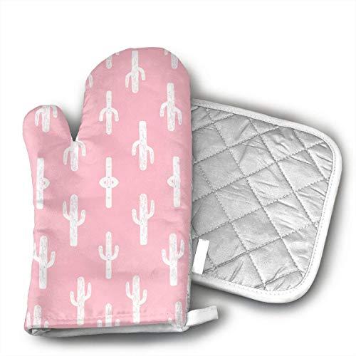 Felsiago – Guantes de horno y agarraderas, Cactus Pink Cacti Fabric Linol de corte de horno y agarraderas, elegantes guantes de horno de colores y agarraderas para interior y exterior