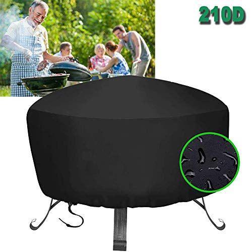 HHMH Waterproof Barbecue Cover, 210D Oxford BBQ Grill Cover Large Outdoor Garden Patio Grill Protection with Drawstring, Waterproof & Dust-Proof & Anti-UV, Round, Black,48x18 in