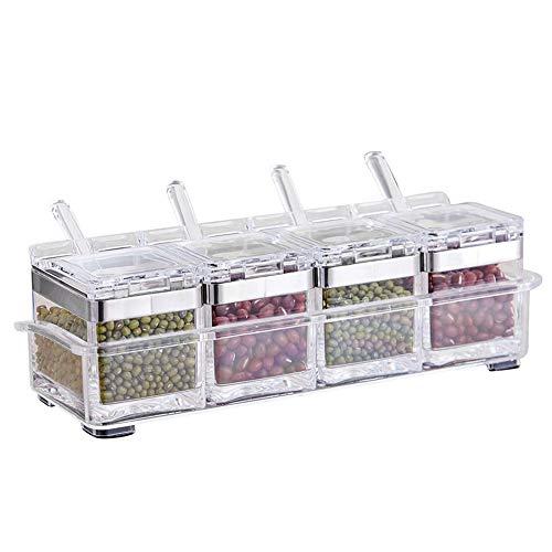 WElinks Gewürzbehälter, Acryl, Gewürz-Aufbewahrungsbox, mit Tablett, für Zucker, Salz, Menage, Küche, 4er-Set