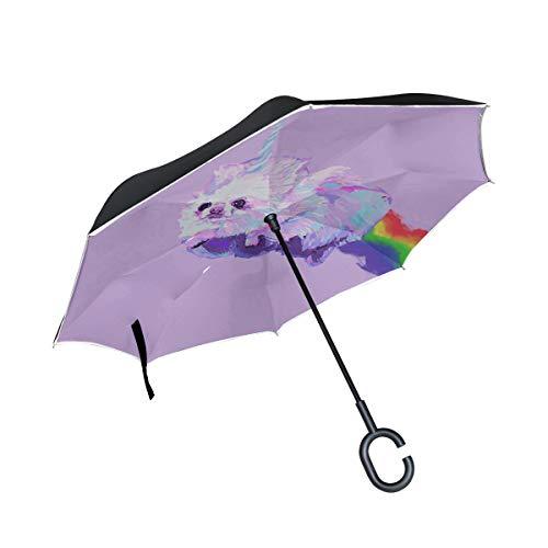 Ombrelli reversibili rovesciati a doppio strato Cani Pomerania Fantasia Unicorno Arcobaleno Modello Ombrello doppio rovesciato Ombrello pieghevole per donna Protezione antivento UV per pioggia con ma