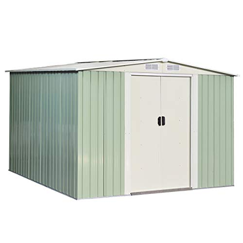 Goplus Galvanized Steel Outdoor Storage Shed 8.5X 8.5Ft Heavy Duty Tool House W/Sliding Door for Garden Lawn(Light Green)