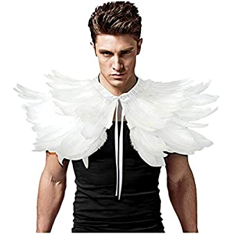 L VOW Men  Gothic Natural Feather Shrug Shawl Cape Stole Collar Halloween Costumes  White-06