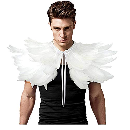 L'VOW Men' Gothic Natural Feather Shrug Shawl Cape Stole Collar Halloween Costumes (White-06)
