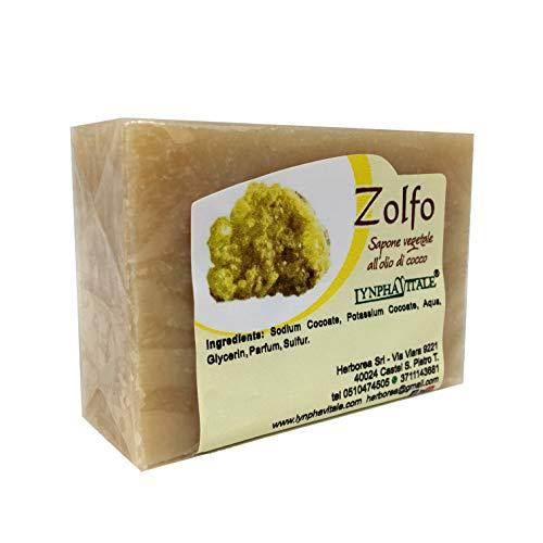 Natuurlijke zeep - Pure plantaardige zwavelzeep - Voedende en genezende zeep voor de vette huid - Ideaal tegen puistjes en acne - Handgemaakte Italiaanse zeep