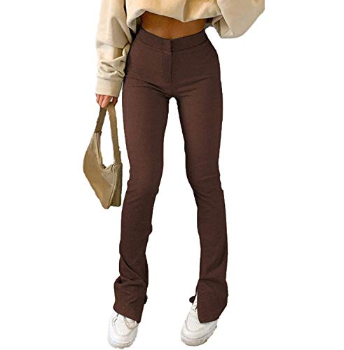 Women Y2k Fashion Pants Straight Wide Leg Trousers Flare Palazzo Pants Loose Sweatpants Joggers 90s Vintage Streetwear(Flare Brown,M)
