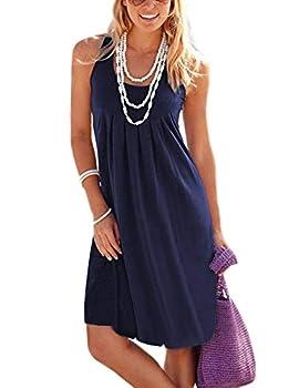 Jouica Women s Casual Summer Tank Sleeveless Knee Length Pleated Sun Dresses,Navy Blue,X-Large