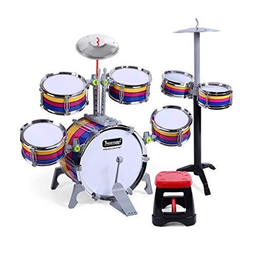 XINRUIBO Tambor para niños Drums Drums Música Juguetes educativos Percusiones Bebés Educación Early Beat Drums Modelos a Rayas Tambor electronico (Color : 7 Drums)