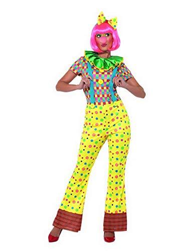 Luxuspiraten - Damen Frauen gepunktetes Zirkus Giggles Clown Kostüm mit bunten Jumpsuit Einteiler Overall, Clowns Kragen Butinette und Haarband, perfekt für Karneval, Fasching und Fastnacht, M, Gelb