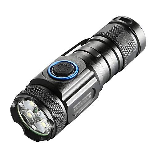 YATONG Mini Petites Lampes de Poche Portables Torche Rechargeable USB, Résistant à l'eau 6 Modes D'éclairage pour Urgence de Randonnée en Camping avec Tube D'extension de 7 Cm