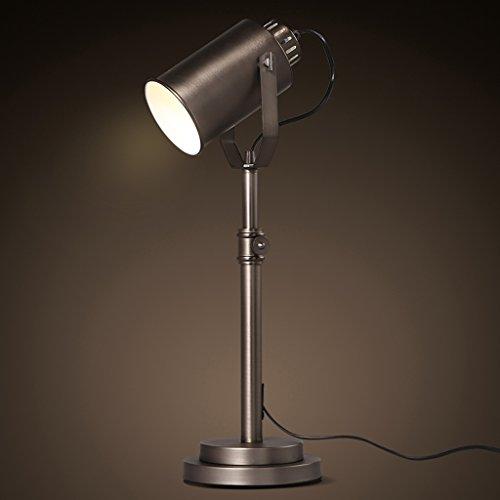 Lámparas de mesa Lámpara de escritorio de hierro forjado de metal creativo americano, lámpara de lectura minimalista moderna de la sala de estar Dormitorio de la protección de ojo, lámpara de escritor