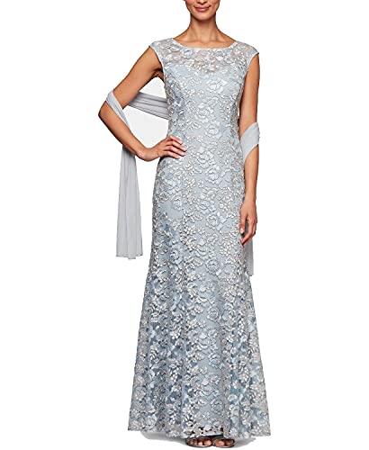Alex Evenings Women's Long Sleeveless Dress with Shawl, Light Blue Lace, 14